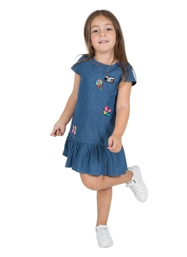 Silversun Kids Kız Çocuk Koyu Denim Nakışlı Fermuarlı Etekleri Fırfırlı Kot Elbise- Ek 216011 Mavi